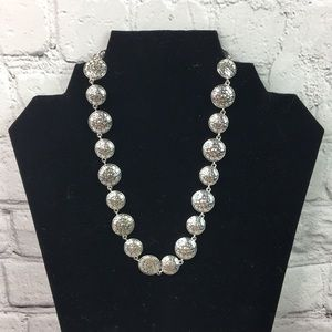 Victorian rounded silver tone statement necklace
